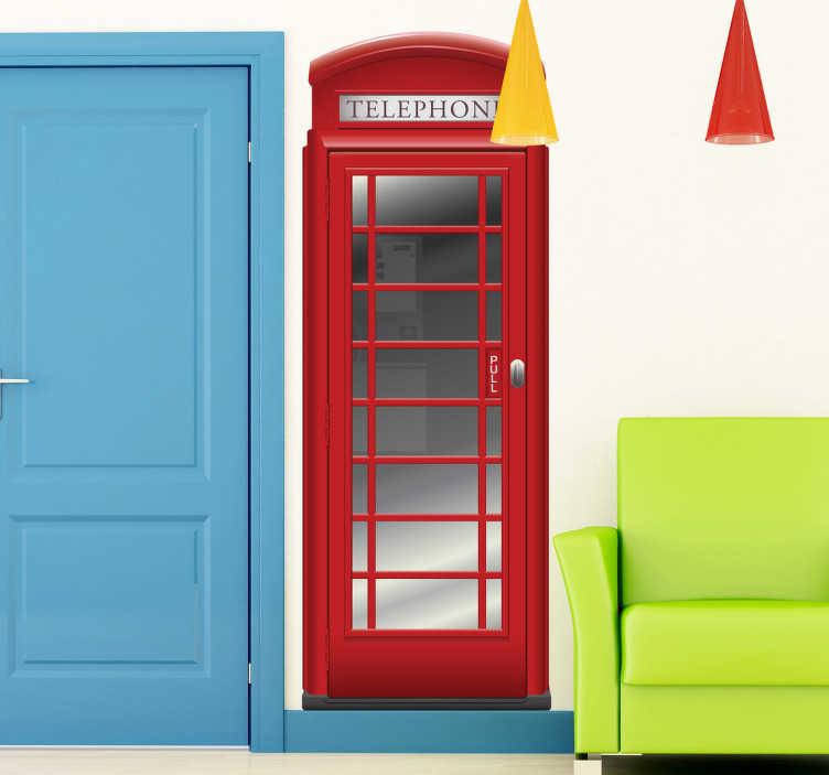 TenStickers. 红色电话亭伦敦贴纸. 一个精湛的旅行墙贴,说明了一个红色的电话亭,是英国伦敦市的特色之一。这款红色贴花可以让您的家居个性化。