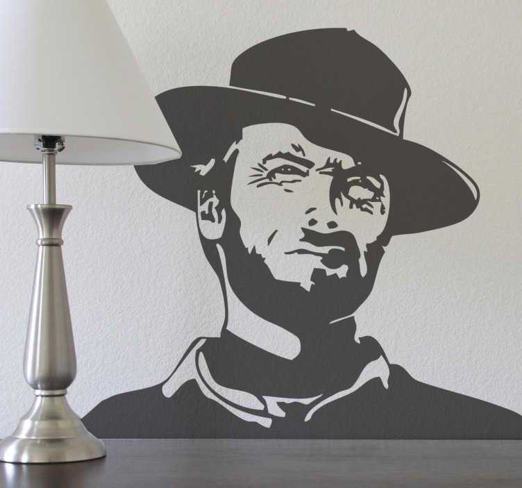TenStickers. Naklejka dekoracyjna Clint Eastwood. Naklejka przedstawiająca sylwetkę legendy Hollywood, Clinta Eastwooda, zdobywcę niezliczonej ilości nagród w tym Oscarów.