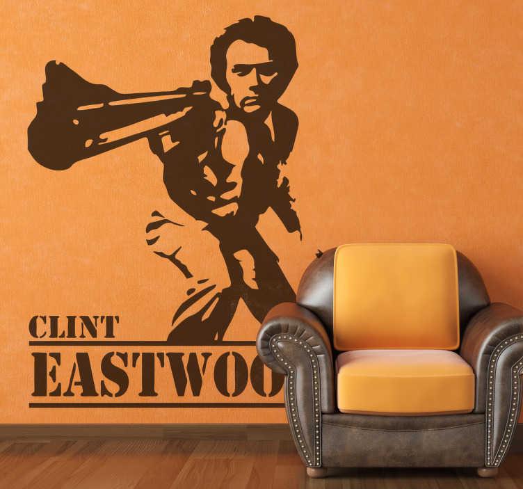 TenStickers. Dirty Harry Film Aufkleber. Dieser großartige Wandaufkleber zeigt den Hauptcharacter Clint Eastwood aus dem amerikanischen Aktion Thriller Dirty Harry.