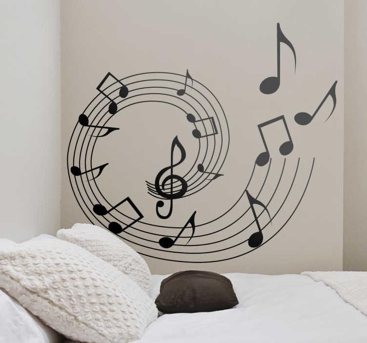 TENSTICKERS. スパイラル音符の壁のステッカー. この音符の壁のステッカーであなたの部屋にいくつかの音楽を追加します。あなたの寝室やリビングルームに理想的な雰囲気を作り出すために、モダンとクラシックのテーマをミックスした美しい音楽の壁のステッカーです。