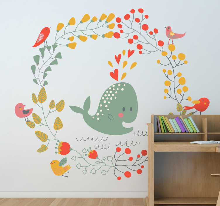TenStickers. Kids Whale & Birds Wall Sticker. Kids Wall Stickers; Playful and adorable illustration of a whale bursting with love surrounded by birds on a circle wreath.