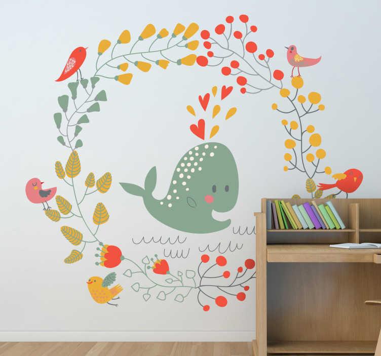 TenVinilo. Vinilo infantil ballena y pájaros. Elegante diseño adhesivo con una corona floral adornada de aves y un lindo dibujo de un animal acuático en el centro.