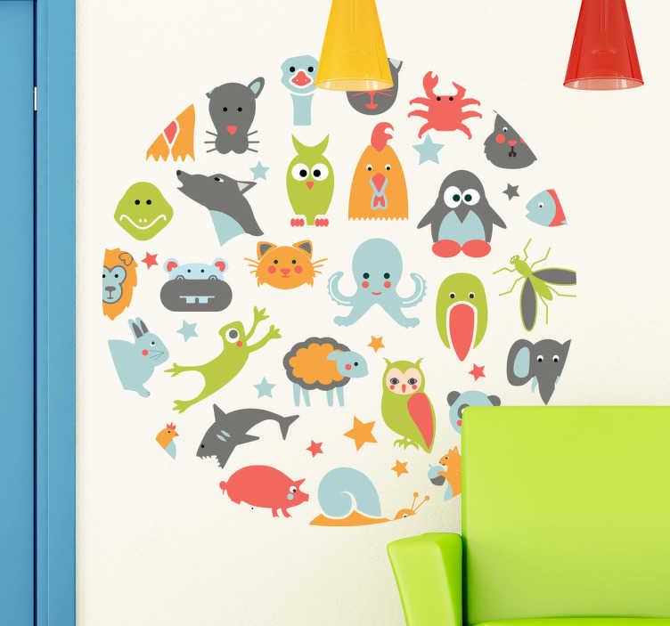 TenStickers. Sticker enfant animaux dans cercle. Stickers mural pour enfant représentant différents animaux de la Terre et de la mer: dauphin, pingouin, grenouille, poulpe, poule, crabe....Super idée déco pour la chambre d'enfant et ou la personnalisation d'effets personnels.