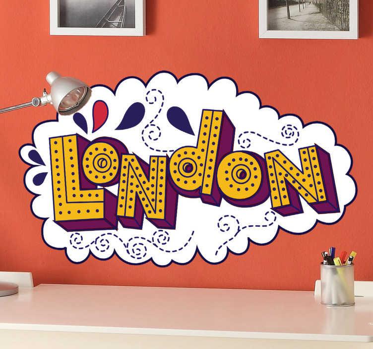 TenStickers. Sticker London tekst kleur. Deze sticker omtrent een komisch illustratie van ¨London¨. Leuk en sfeervol design om uw woning of bedrijf mee te decoreren!