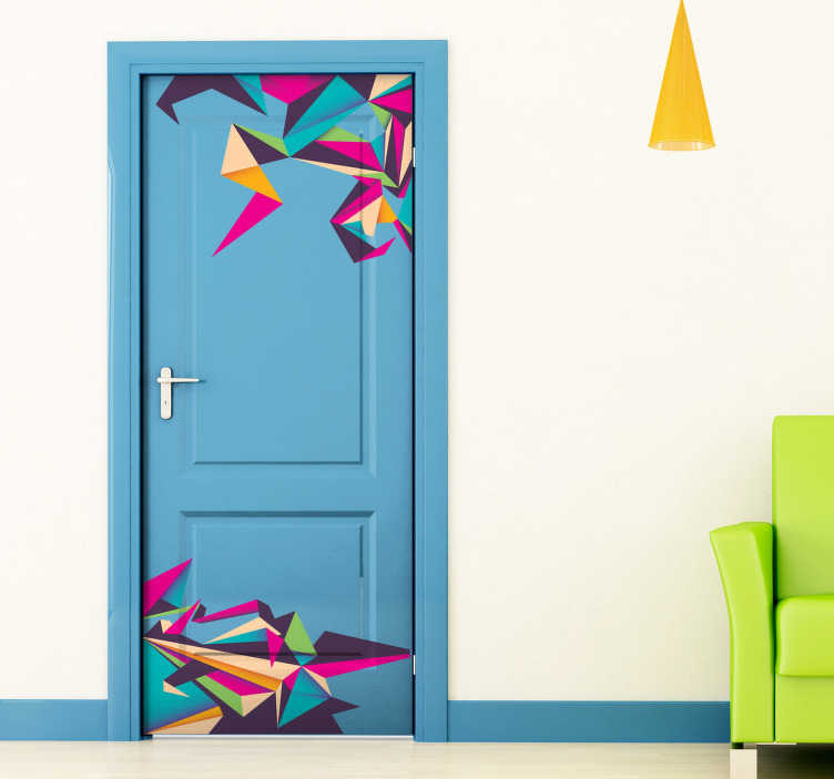 TenVinilo. Vinilo decorativo origami de colores. Dibujo de formas geométricas y gran colorido en adhesivo para darle un toque de modernidad a tu hogar.*Para medidas especiales contáctanos