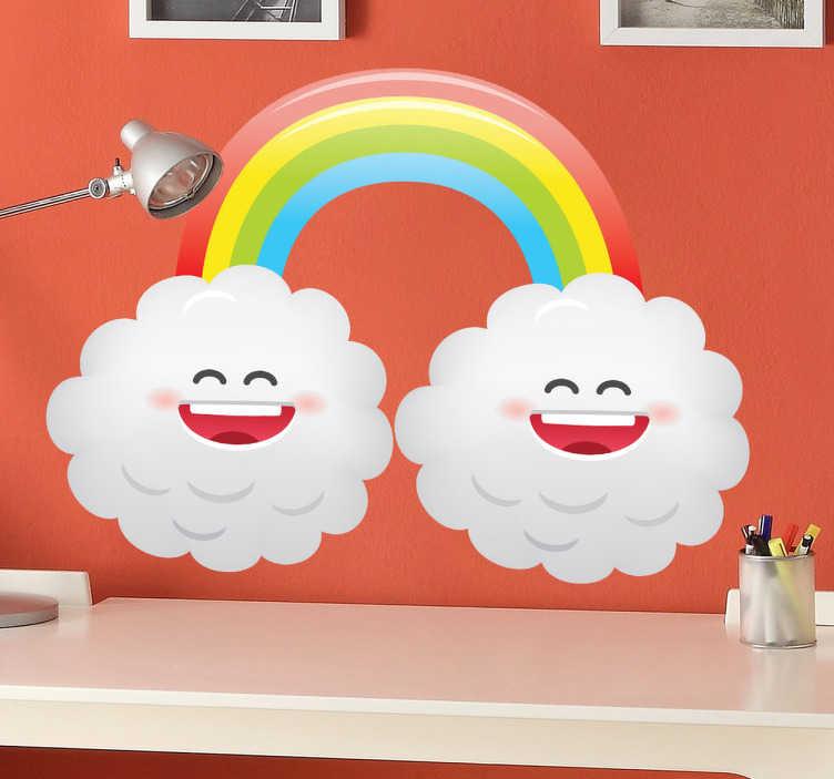TenStickers. Naklejka tęcza manga. Zabawna naklejka dekoracyjna przedstawiająca kolorową tęczę oraz dwie uśmiechnięte chmury. Oryginalny obrazek w stylu manga.