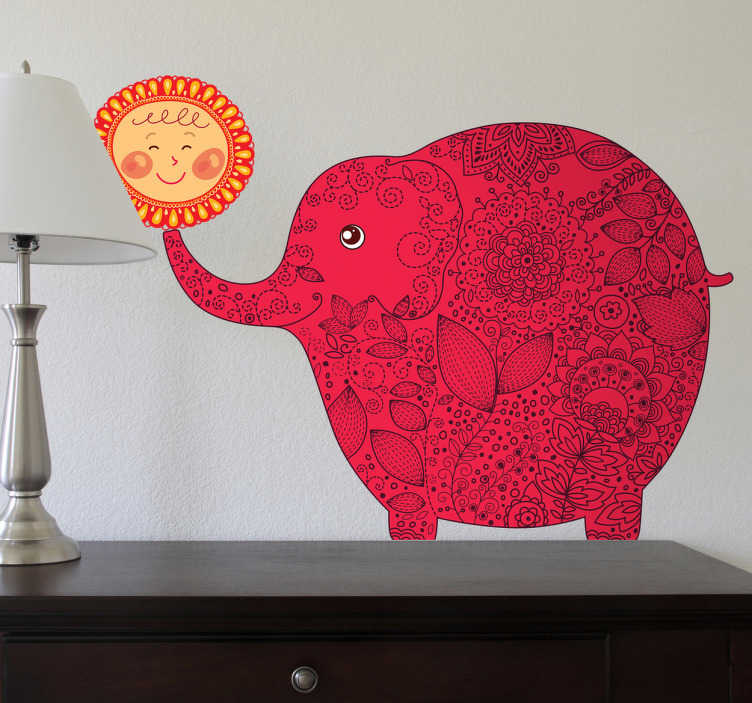Muursticker kind olifant zon