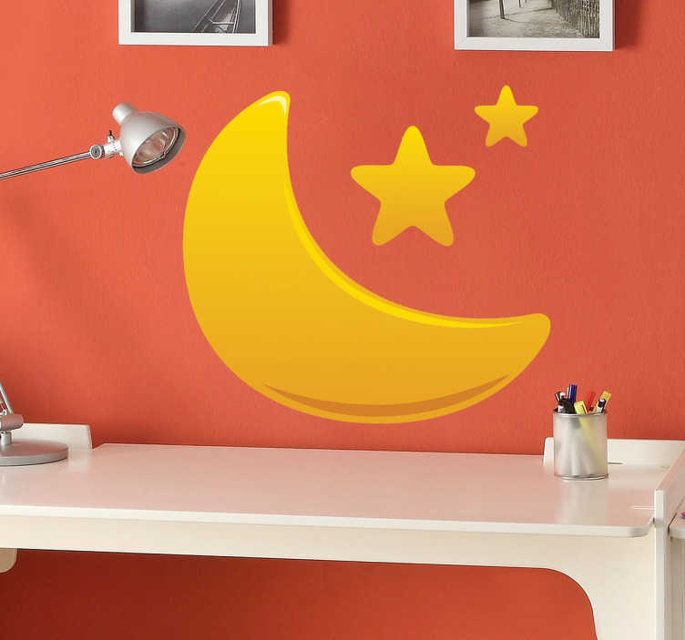TenStickers. Kids Golden Moon and Stars Decal. A kids decal of a vibrant golden gradient illustration of a half moon and stars. A brilliant decal from our collection of star wall stickers.