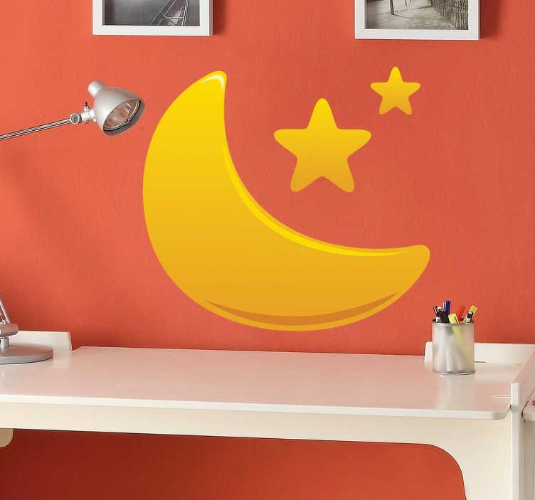 TenStickers. Autocolante infantil lua dourada e estrelas. Um autocolante infantil de uma vibrante ilustração gradiente dourado de meia-lua e estrelas. Está disponível em vários tamanhos.