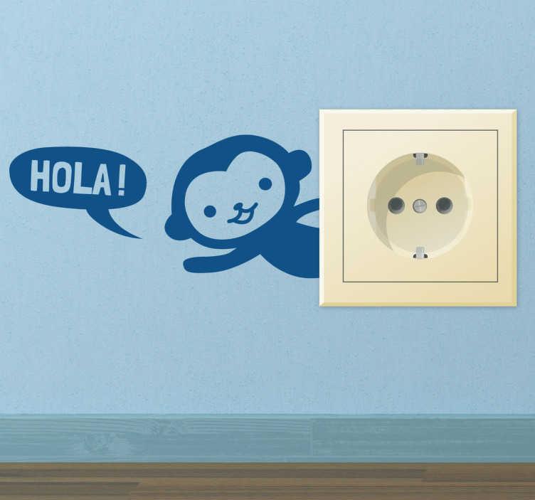 """TenStickers. Naklejka na kontakt Małpka. Naklejka do umieszczenia przy kontakcie, przedstawiająca małą małpkę mówiącą """"Hola"""" po hiszpańsku."""