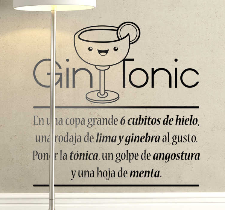 TenVinilo. Vinilo decorativo receta gin tonic. Recuérdate cuáles son las bases para hacer este fantástico cocktail con un original adhesivo monocolor.