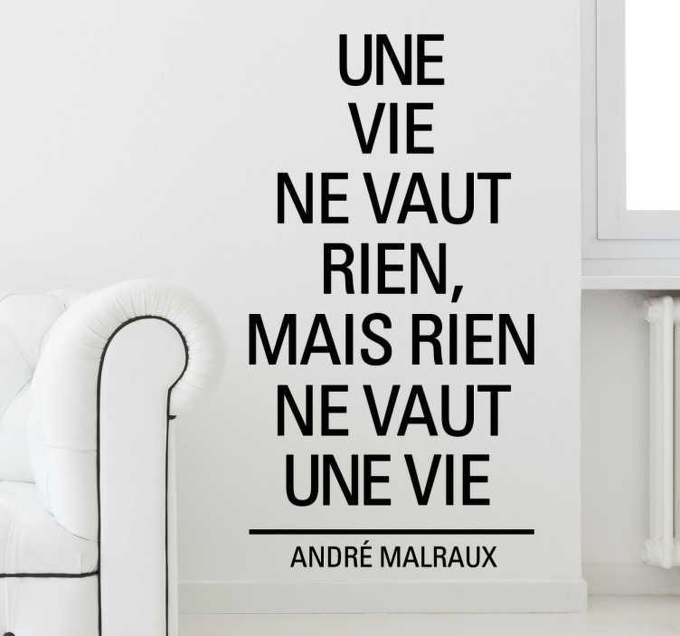 TenStickers. Sticker citation André Malraux. Pour les philosophes et optimistes, personnalisez votre espace avec cette citation d'André Malraux sur sticker.