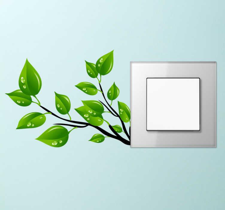 TenVinilo. Vinil para apagador rama de árbol. Un ecológico vinilo para ilustrar las clavijas y puntos de luz de tu hogar. Adhesivo decorativo para interruptores de una rama que florece de él.