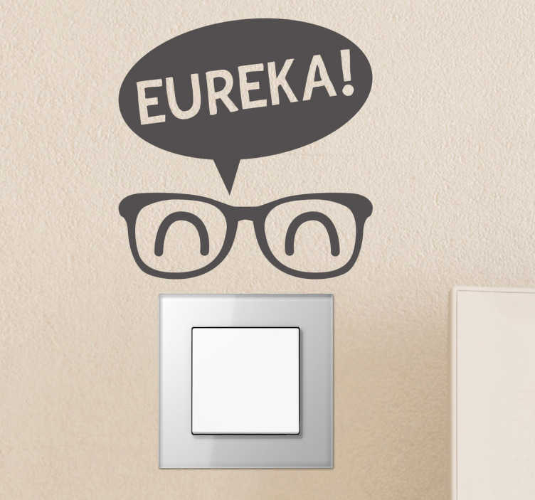 TenStickers. Light switch Eureka Decorative Sticker. Fun decal in which you will be able to illuminates the ideas of this funny character with glasses.