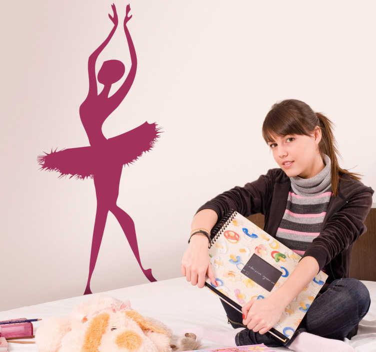 TENSTICKERS. バレリーナシルエットデカール. エレガントなダンサーの美しいバレリーナ壁のデカール。バレエシルエットは50色まで、様々なサイズでご用意しています。