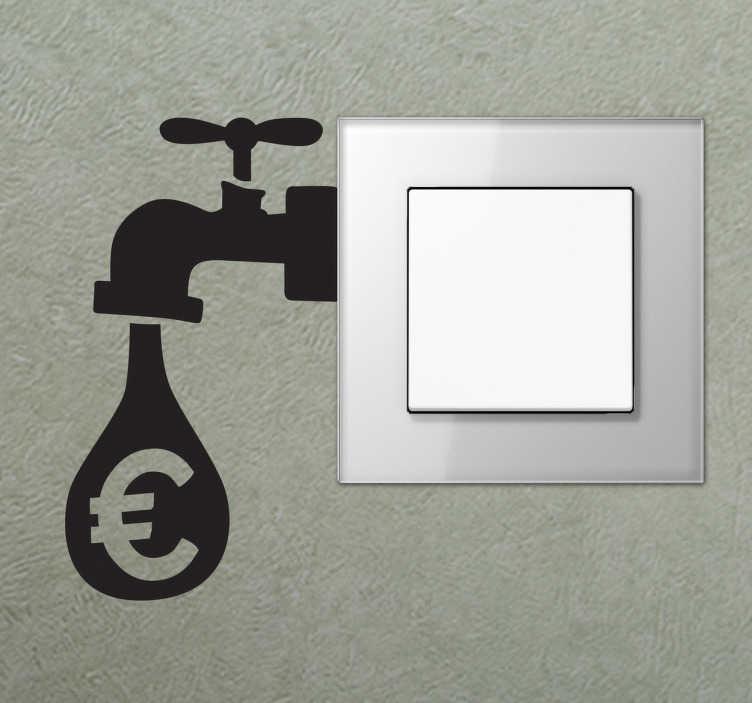 TenStickers. Geld Wassertropfen Aufkleber. Dieser Aufkleber zeigt, dass Sie Strom und Wasser sparen sollen. Dieser Sticker wurde speziell für den Lichtschalter entworfen.
