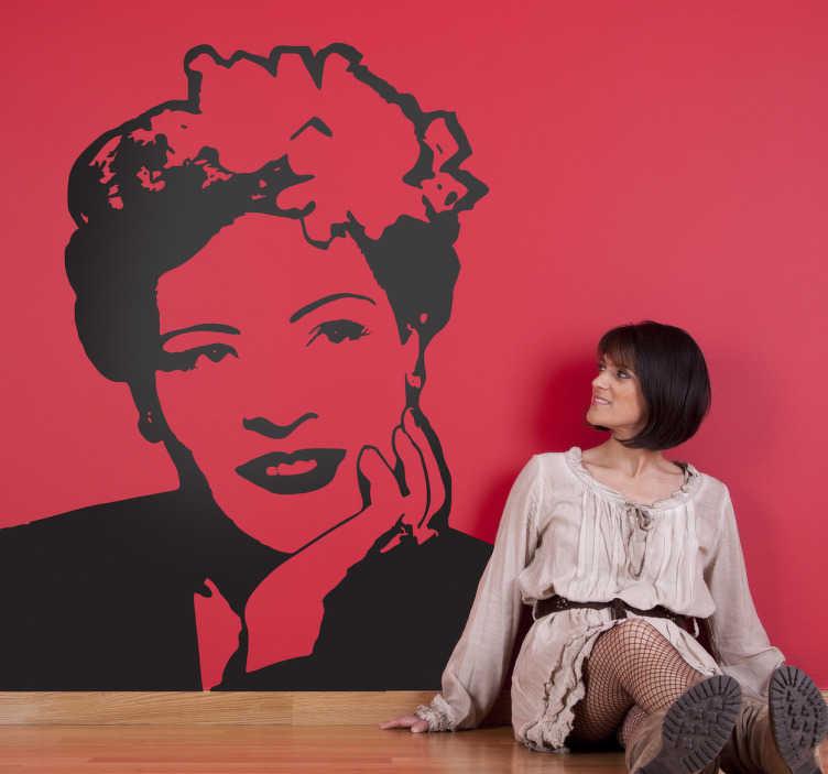 TenStickers. 빌리 휴일 초상화 스티커. 재즈의 역사에서 가장 유명한 아이콘 중 하나와 세로 스티커. 이 위대한 미국 가수의 열렬한 팬들을 위해.