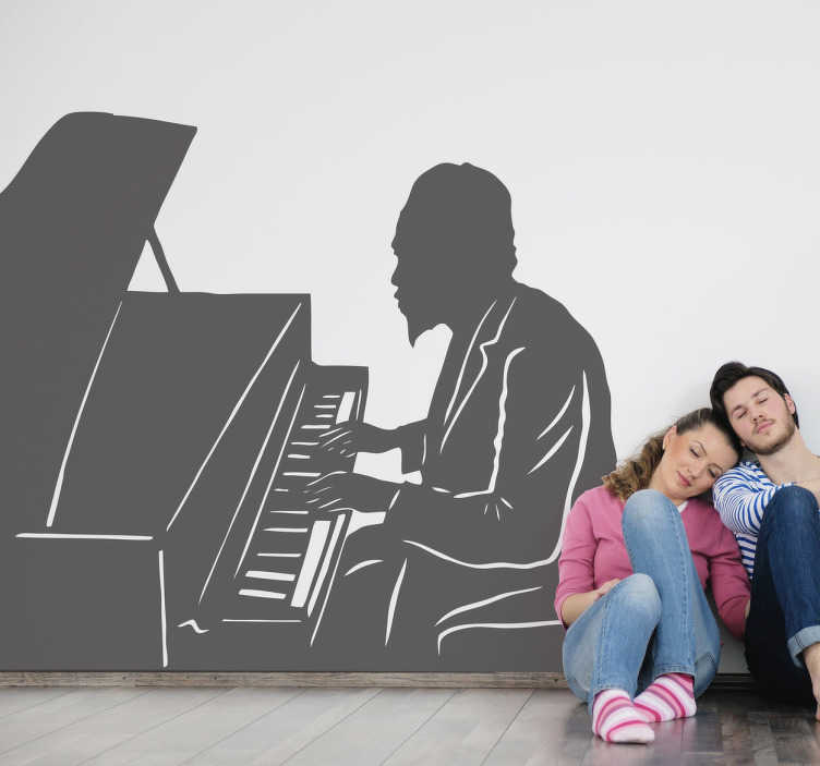 TenStickers. Sticker Thelonious Monk. Stickers représentant le portrait de Thelonious Monk jouant du piano, célèbre musicien de Jazz durant le milieu de XXe siècle.