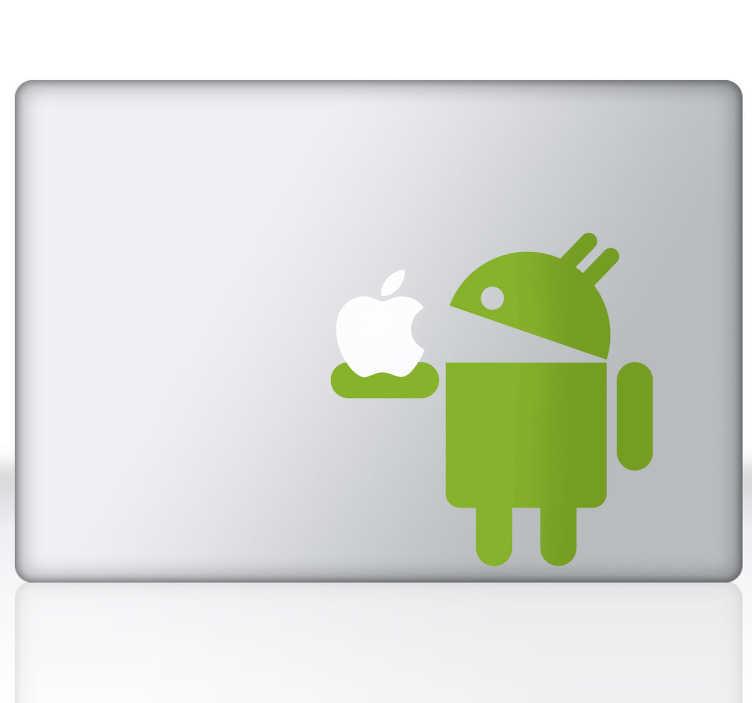 TenVinilo. Vinilo portátil Android y Apple. Adhesivo especial para dispositivos Apple en el que el robot de Google se come la manzana de los de Cupertino.