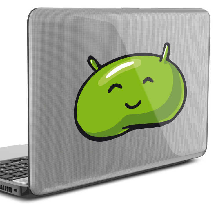 TenStickers. Sticker pc portable dessin Android. Dessin en stickers du bonhomme vert du logo Android pour décorer son ordinateur portable.*Selon le format de votre dispositif les dimensions et proportions du stickers peuvent varier légèrement.