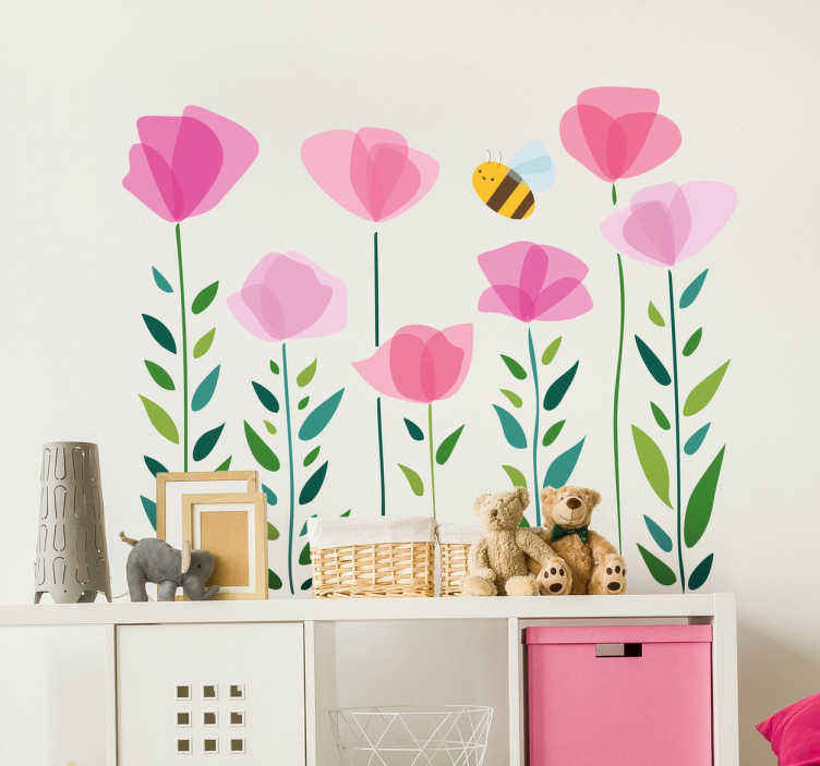 TenStickers. Flowers and Insects Kids Wall Mural. Fun and playful flower wall sticker of plants and a bee. Bright, vibrant and colourful nature wall sticker for kids. Available in a variety of sizes. Ideal for decorating the nursery, bedrooms and play areas for kids.