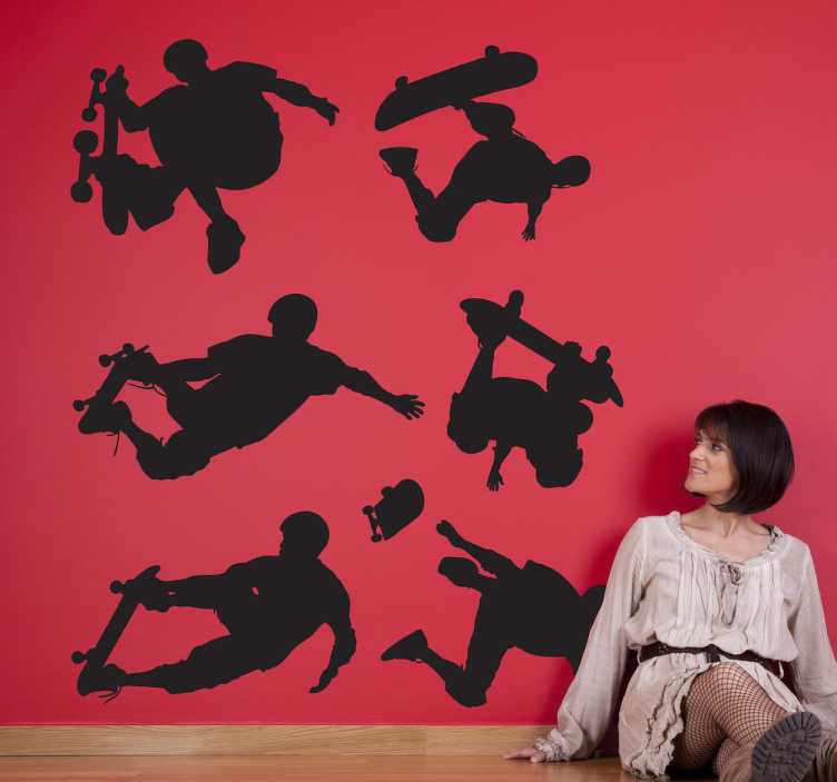 TenStickers. Skateboarder Wall Stickers. Skateboarder silhouette decals - Decorate a teens room or skate park with images of skaters performing different stunts.