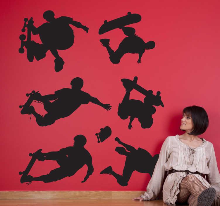 TenStickers. Naklejka popisy skateboardera. Naklejka na ścianę przedstawia chłopaka na desce skateboardowej wykonującego różne popisowe triki. Dla wszystkich fanów tego typu rozrywki! Idealne dekoracja ściena do pokoju chłopiecego.