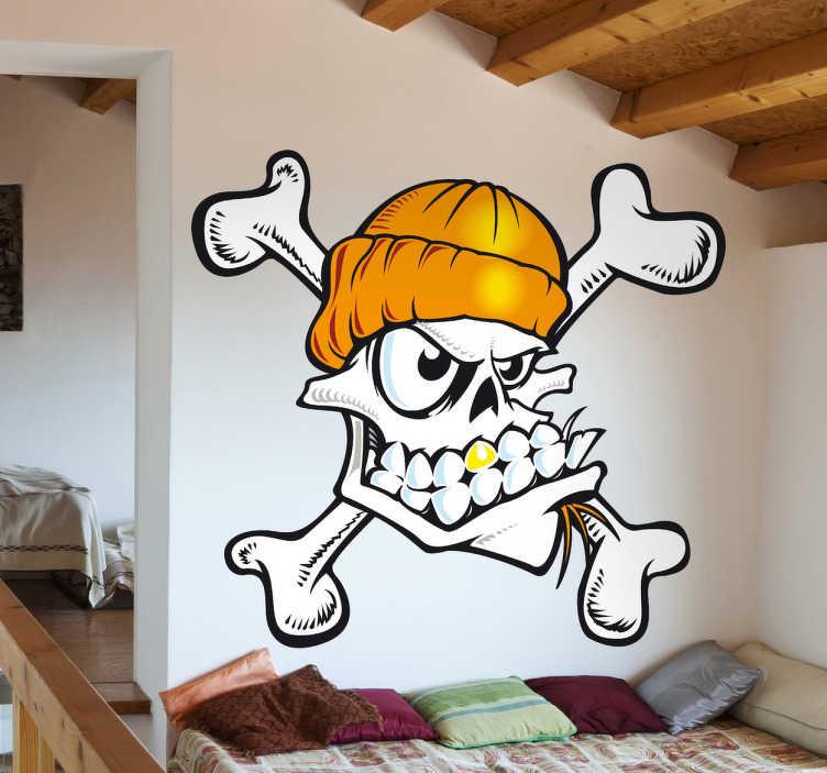 TenStickers. Sticker Doodskop Skater. Een leuke muursticker van een doodskop met een goudkleurige muts en een gouden tand!