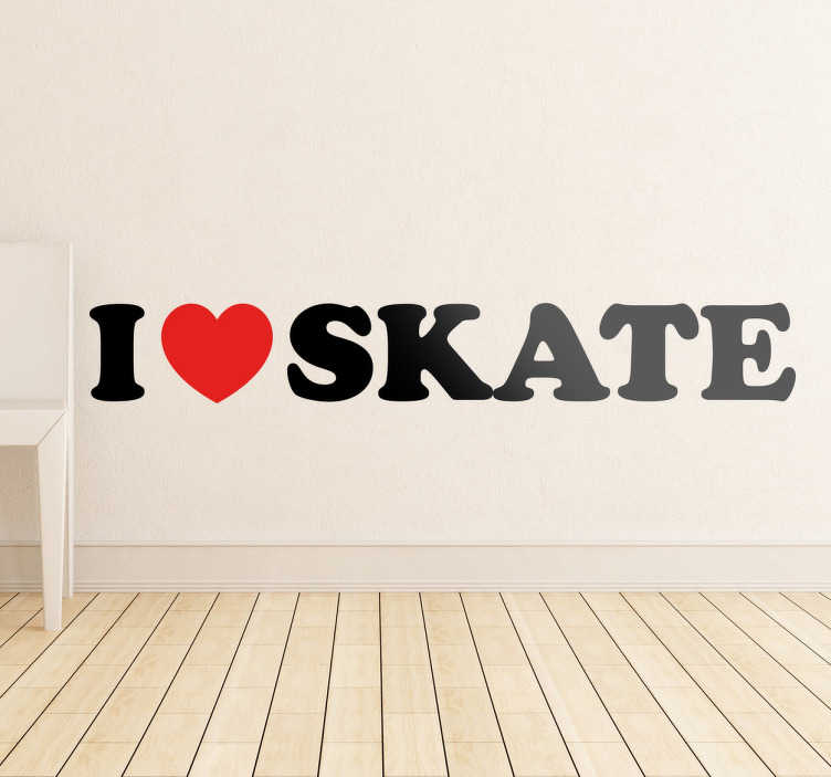 TenStickers. Naklejka I love Skate. Dla wszystkich fanów jazdy na desce skateboardowej! Umieść naklejkę na ścianie lub innej gładkiej powierzchni.