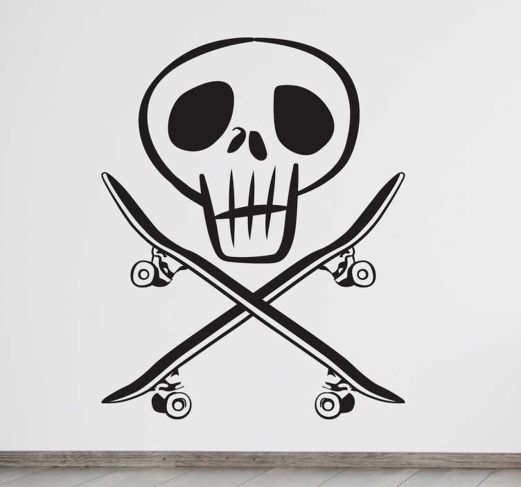 Adesivo murale skater pirata