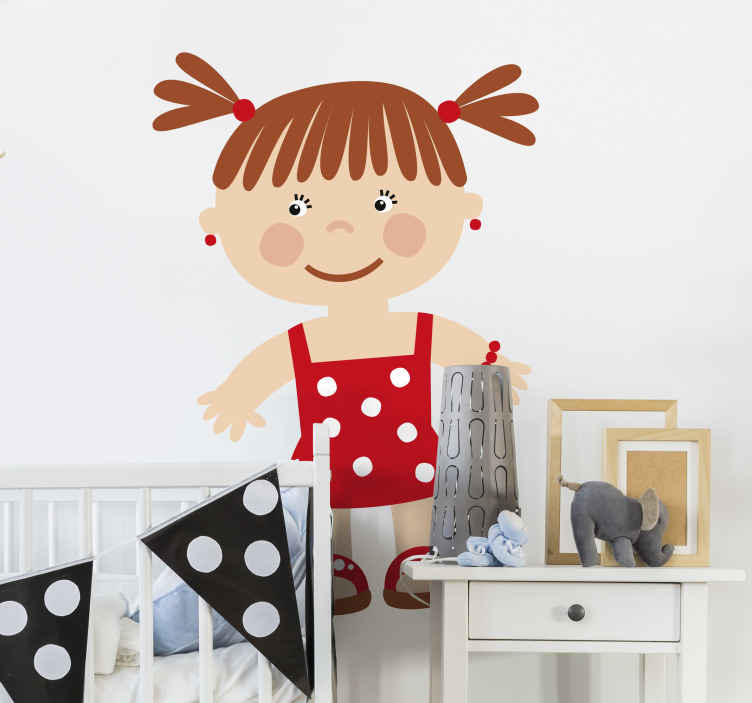TenStickers. детские наклейки маленькая девочка в красном. Дети стикер стены искусства - иллюстрация маленькая девочка, которая готова повеселиться и поиграть.