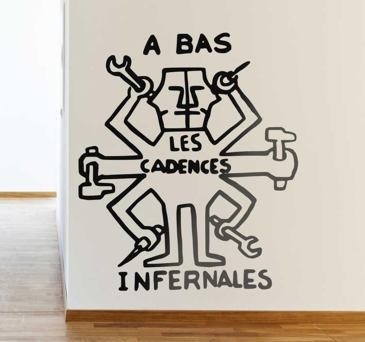 TenStickers. Stencil muro cadences infernales. Sticker monocolore con una rinomata pittura murale francese a favore di migliori condizioni lavorative.