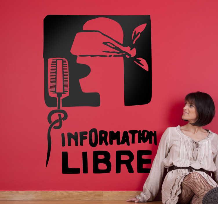 TenVinilo. Vinilo decorativo information libre. Adhesivo con un grafitti que puedes encontrar en Francia reclamando que no exista censura en los medios de comunicación.