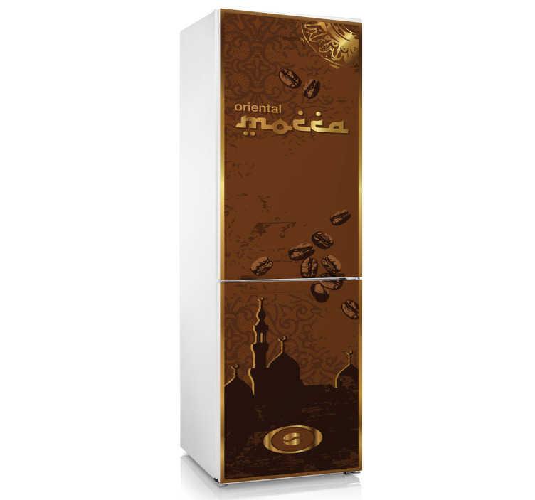 TenStickers. Koelkast sticker koffie oriental. Decoreer de keuken nu gemakkelijk met deze oriëntaalse koffie koelkast sticker. Afmetingen naar eigen wens aanpasbaar. Dagelijkse kortingen.
