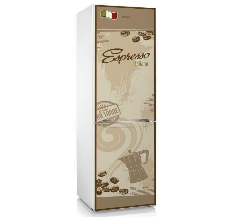 TenStickers. Italiaanse Espresso koffie koelkast sticker. Personaliseer jouw koelkast met een koelkast sticker! Voor de echte koffie liefhebbers, een sticker voor op de koelkast met de Italiaanse Espresso.