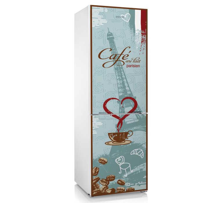 TenStickers. Cafe au lait Kühlschrank Aufkleber. Dekorieren Sie Ihren Kühlschrank mit diesem besonderen Aufkleber der Kaffeespezialität Café au lait.