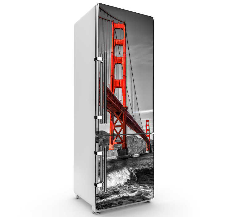 TenStickers. Golden Gate Bride Fridge Sticker. Kitchen Stickers - Feel San Francisco in your own kitchen with this awesome fridge sticker showing the Golden Gate Bridge in full red colour with the rest of the city in black and white to make the bridge stand out!