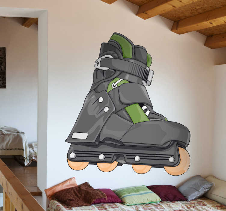 TenStickers. In Line Skate Sticker. If you are a fan of the world of skating, then decorate your room with this realistic illustration.
