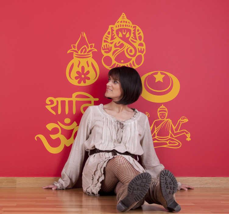 TenStickers. Naklejka hinduskie symbole. Naklejka dekoracyjna z kolekcją hinduskich syboli, miedzy innymi słonia.
