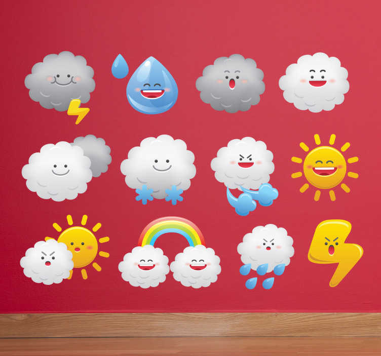 TenStickers. Sticker kinderkamer set emoticons weer. Een set muurstickers van verschillende emoticons voor het aanduiden van iedere mogelijke weersvoorspelling.