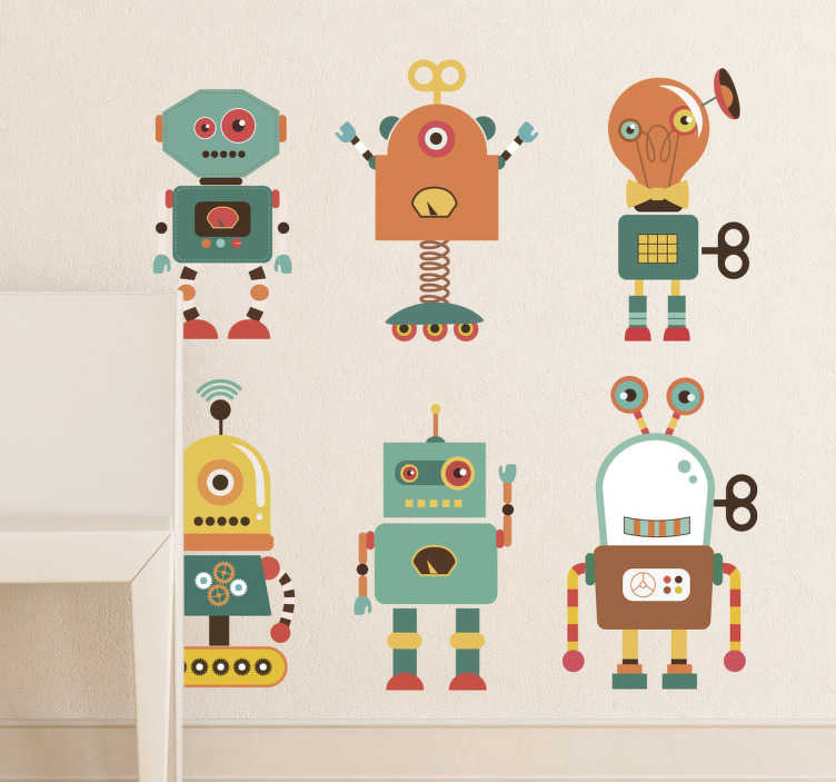 TenStickers. Fun Robots Kids Sticker. Collection of robot wall stickers - illustration of six fun alien robots. Your children will love our colourful robot decals!