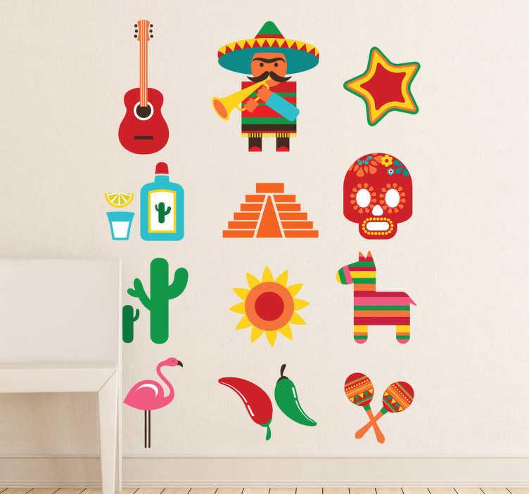 TenStickers. Naklejka meksykańska kolekcja. Naklejka na ścianę przedstawiająca kolekcję meksykańskich wzorów, takich jak gitarka, kaktusy, tequila. Dla wszystkich miłośników meksykańskiej kultury!