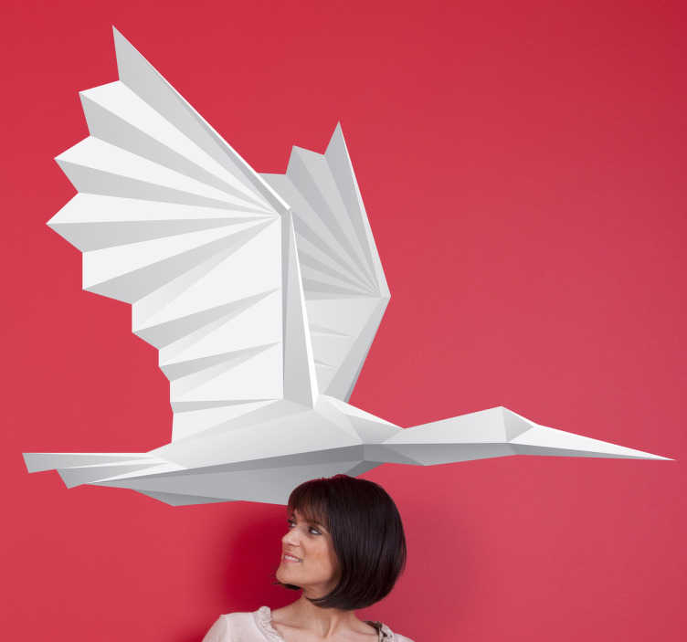 TenStickers. Sticker vogel papieren vogel. Deze sticker omtrent een modern ontwerp van een grote papieren vogel. Ideaal ter modernisering van uw woning!