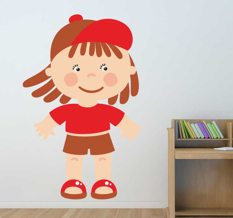 TenStickers. Kids Stickers Toddler Boy in Red. Kids wall sticker art - illustration of a little boy who is ready to have some fun and play.