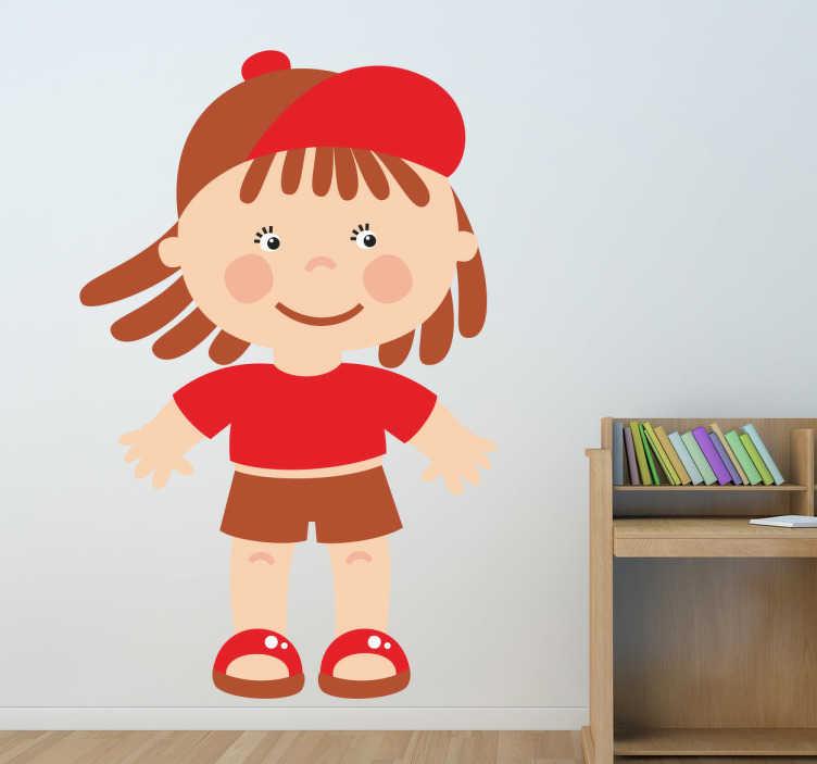 TenStickers. Kind in roter Kleidung Aufkleber. Ein Mädchen mit Cap, Sandalen, T-Shirt und kurzer Hose. Mit diesem niedlichen Wandtattoo können Sie das Kinderzimmer dekorieren.