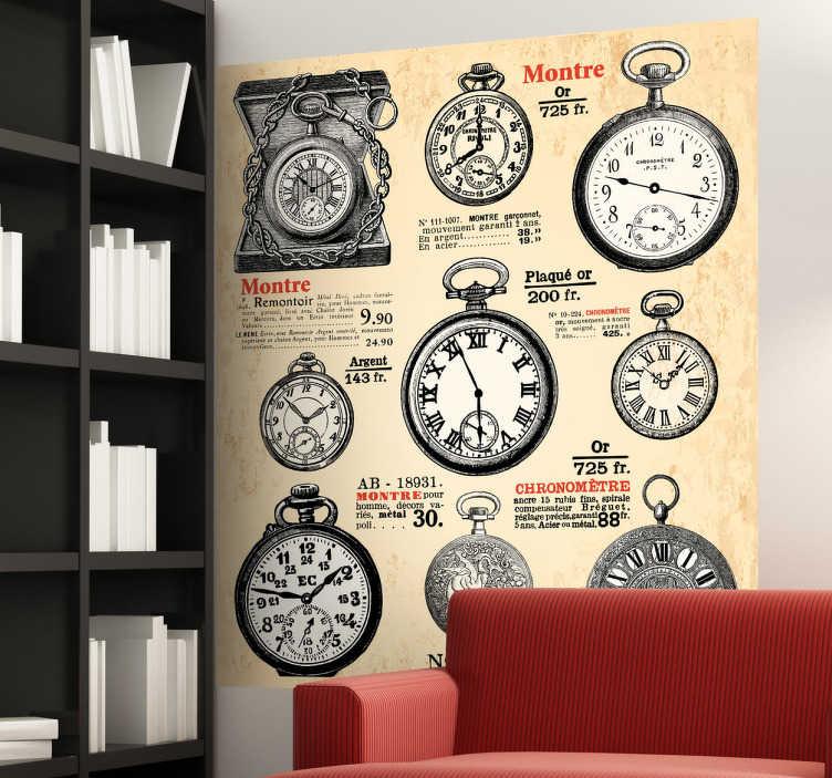 TenStickers. Autocollant mural affiches retro horloges. Stickers mural aux airs rétro représentant une affiche avec des types d'horloges divers et variés.Personnalisez et adaptez le stickers à votre surface en sélectionnant les dimensions de votre choix.