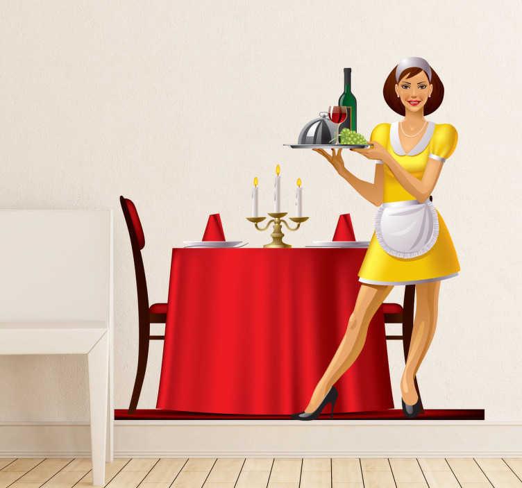 TenVinilo. Vinilo decorativo cena de lujo. Ilustración en pegatina de una camarera sirviendo una deliciosa comida y sosteniendo una bandeja.