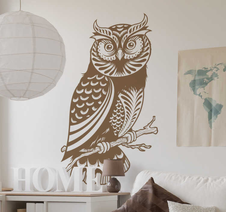 TenStickers. Branch Owl Illustration Wall Sticker. This decorative vinyl from our collection of owl wall stickers is an impressive design to decorate any space at home.