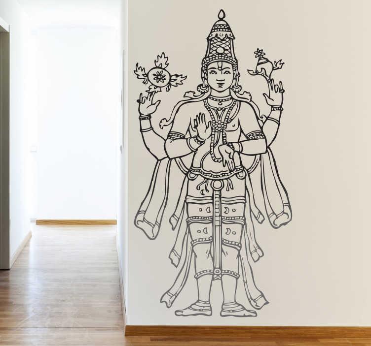 TenStickers. Wandtattoo Hindu Statue. Dekorieren Sie Ihre Räume mit diesem orientalischen Wandtattoo, das eine Abbildung einer veehrte Hindu-Statue zeigt.