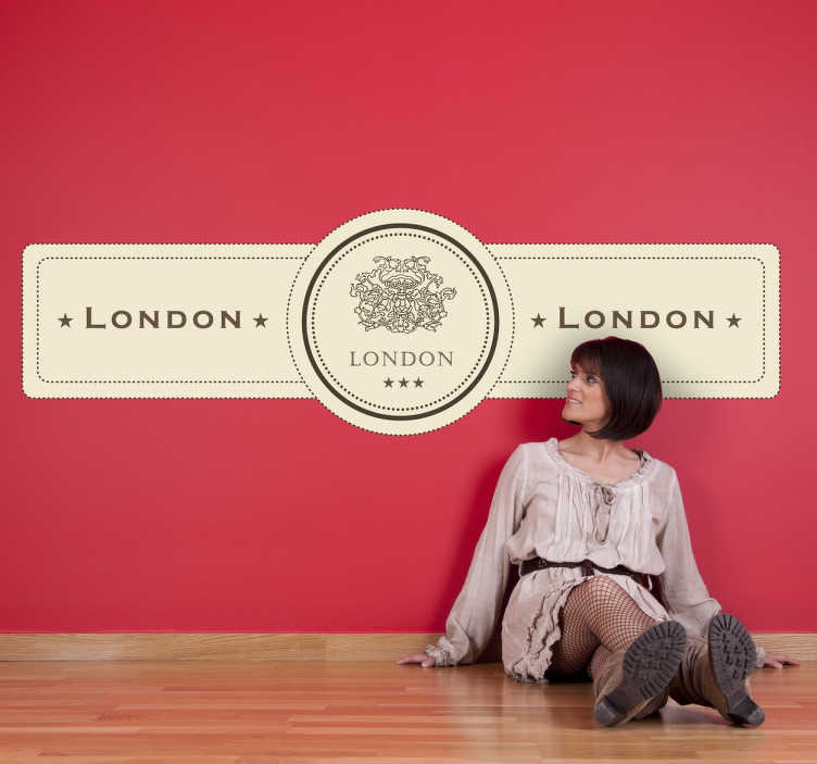 TenVinilo. Vinilo decorativo etiqueta Londres. Pegatina de aire retro para decorar tu casa de una manera original.